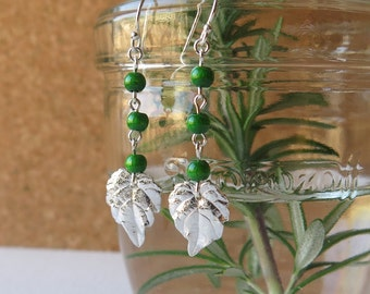 Japanese Ivy /Japanese Creeper Leaf Earrings - Pure Silver Real Leaf, Wooden Beads, Botanical Jewelry