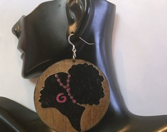 Afrocentric Woman  Wood  Earrings,nubiansensations, Afro Puff