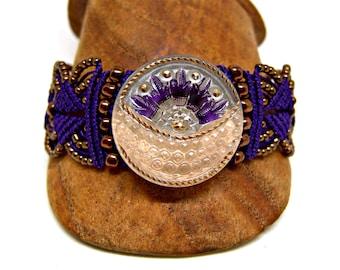 Purple Macrame Bracelet - Czech Glass Sun and Moon Button - Micro Macrame Bracelet - Intricate Knotted Bracelet