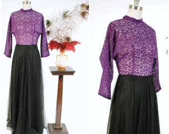 Vintage 1940s Gown - Elegant Bright Purple Lace and Black Net Late 40s Evening Dress with Dolman Sleeves and Built in Slip