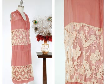 Vintage 1920s Dress - Elegant Rose Pink Silk and Champagne Filet Lace 20s Sheer Silk Chiffon Dress with Drop Waist