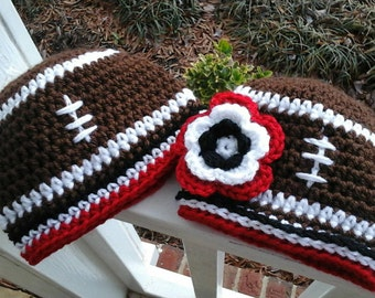Newborn to Adult size Atlanta Falcons Football Beanie Hat With Large Flower. Newborn Falcons Hat, Child Falcons Hat, Adult Falcons Hat.