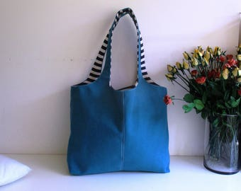 2 Large Totes in One - Double Sided Reversible Tote