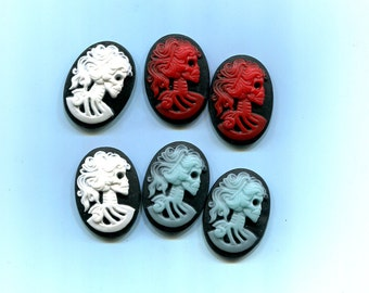 victorian bride skull cabochon 25x18 Cameo sci fi skull cabs skeleton cameos gothic lolita halloween jewelry supply 6pc red white blue