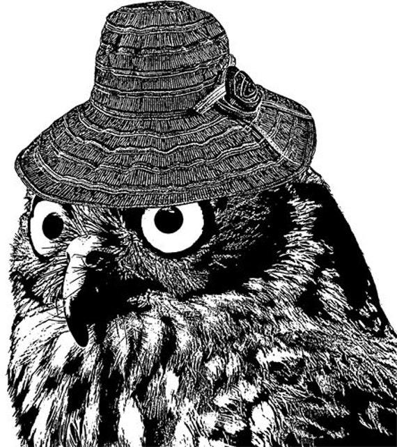 owl wearing hat printable art black and white clipart png  jpg digital image download graphics bird animal wildlife bedroom living room art
