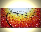 Original Tree Painting, Large Modern Art, Abstract Contemporary Art, Floral Art, Red Yellow Trees, Landscape Painting By Lafferty - 48x24