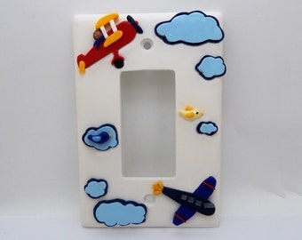 Airplane Light Switch Cover or Outlet Cover  - Aviation Nursery - Children's Airplane Room Decor - Transportation Themed - Toggle or Rocker