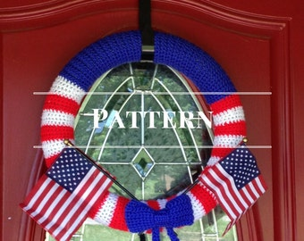 Patriotic Crochet Wreath Pattern, 4th of July wreath, Red White and Blue Wreath instructions