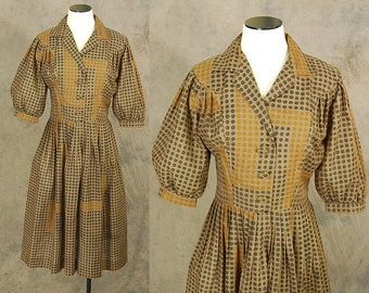 vintage 50s Day Dress - 1950s Abstract Brown Dots Dress Sz S