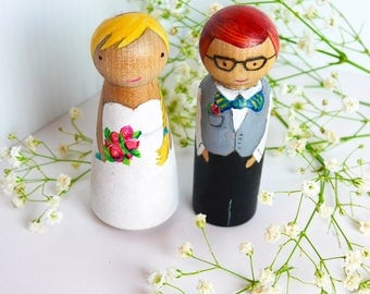 Hand Painted Custom Wedding Cake Toppers