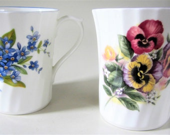 Fine Bone China Porcelain Swirl Coffee Drink Cup Glass Pansy Forget Me Not Flower Vanity Collectible England Royal Stuart