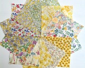 Liberty lawn YELLOW charm pack - 12 Liberty of London Tana Lawn  Fabric 5 inch squares