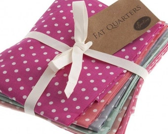 Fat Quarter Bundle, Polka Dots Cotton Fabrics, 6 Different Coloured Polka Dot Fat Quarters, 54cm x 45cm
