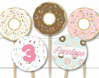 Instant Download - Editable Custom Colorful Sprinkle Donut Breakfast Party Or Baby Shower Cupcake Topper