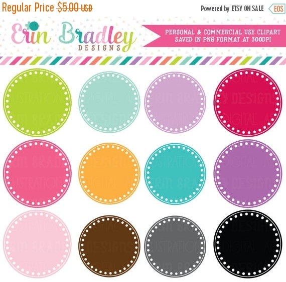 70% OFF SALE Digital Scrapbooking Clipart Clip Art Polka Dotted Circle Frames Personal and Commercial Use