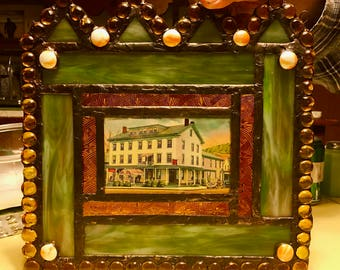 Stained Glass Window w Vintage Postcard of Historic Milford PA Dimmick Inn