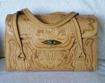 Vintage, Leather Handbag, Wonderfully Boho-Chic, Vintage, Tooled Leather, Handbag