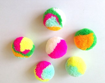 Handmade Yarn Pom Poms, pom pom, poms, yarn balls, mint, yellowish-orange, lime, bright pink, yellow, neon, off-white, 20 pom poms, tulle