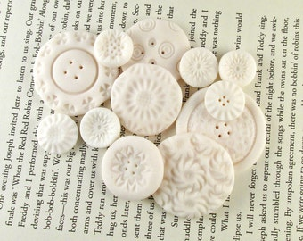 Clay Buttons - Polymer Clay Buttons, Cute Buttons, Mixed Media Buttons, Button Set