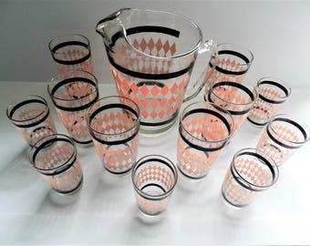 Pink Beverage Set, 1950s Beverage Set, Pink and Black Pitcher Glasses, Retro Beverage Set, Harlequin Glass Set, Argyle Glass Set