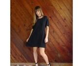 extra 30% off sale . . . Black Woven Mini Babydoll Dress - Vintage 90s - M/L Petite