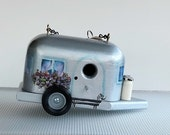 Handmade Silver Airstream Trailer Birdhouses , Hand Painted , with Clean Out