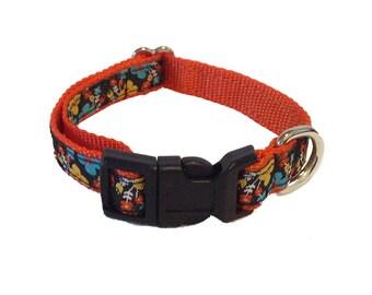"1/2"" Orange Floral Small Dog Collar"