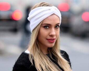 Winter Headband Cashmere Headband Women's Headband Black Headband Knit Headband Wide Headband Ponytail Hat Gray Headband Ivory Headband
