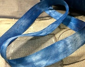Indigo dyed Rayon Tape Ribbon for Quilting, Slow Stitching and Binding.