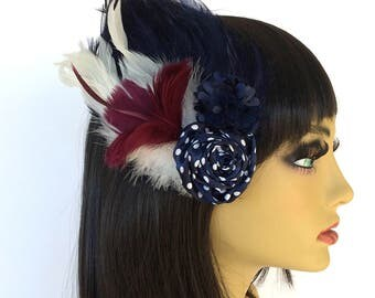 Navy Feather Fascinator, Burgundy Feathers, Polka Dotted Hair Flower, Nautical Fascinator, Summer Hair Clip, Tea Party Fascinator
