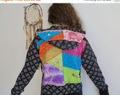 SALE Batik Tie Dye Patchwork Printed Festival Remade Bohemian Hippie Upcycled OOAK Hoodie Hooded Sweatshirt Sweater Size Large
