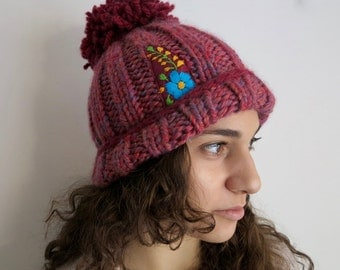 Red Mauve Big Pom Pom Floral Meixcan Embroidered Applique Wool Knit  Hat Beanie Boho Hippie OOAK Embroidery Handknit MountainGirlClothing