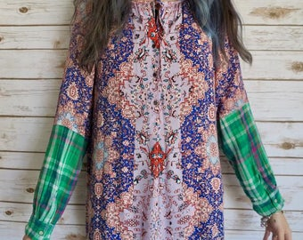 Bohemian Vibes Print Flowy Plaid Sleeve Cuff Blouse Boho Bohemian Gypsy Hippie Top Shirt Size Large
