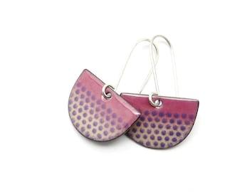Purple Dangle Earrings - Purple Enamel Half Circle Earrings with Polka Dots