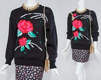 90s Bramble Lane black sweater with metallic pink roses | size small
