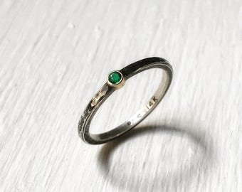 Tiny Gemstone Ring with 14k Gold and Silver