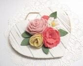 Valentines Day Gift Idea Distressed Wood Heart with Spring Flowers Valentine Flower Wreath Door Hanger Shabby Cottage Chic Decor  53