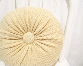 Round Yellow Pillow, Cable Knit Pillow, Cashmere Pillow, Decorative Pillow, Accent Pillow, Lumbar Travel Pillow, Felted Wool Pillow 5