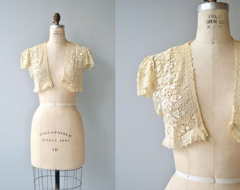 Tatted Lace bolero | vintage 1930s lace jacket | 30s wedding jacket