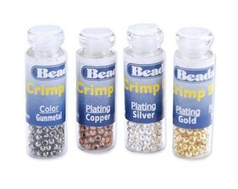Beadalon Crimp Bead Variety Pack #1-Silver, Gold, Copper, Gunmetal (600 Pcs)