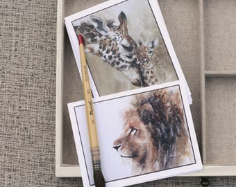 stationery set african animal card set for him for her giraffe card cheetah card elephant card lion card watercolor notecard set THREE