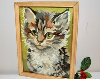 cat paint by number vintage with frame