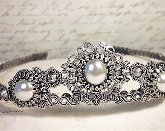 Silver Bridal Tiara, White Pearl, Renaissance Wedding, Medieval, Ren Faire, Festival, Tudor Costume, Bridal Headpiece, Choose a Color