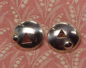 1990 Designer signed Sterling Disk ball and triangle Post Pierced Earrings
