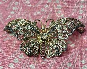 Vintage Alice Caviness Sterling and Marcasite Germany Butterfly Brooch pin