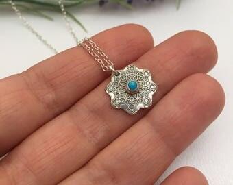 Fine Silver Mandala Necklace set with Sleeping Beauty Turquoise