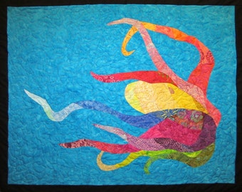 Colorful Octopus Wall Hanging Art Quilt