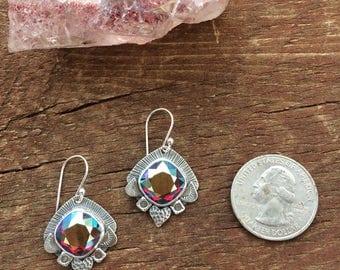 Antique iridescent red crystal earrings, Swarovski crystal drop earrings
