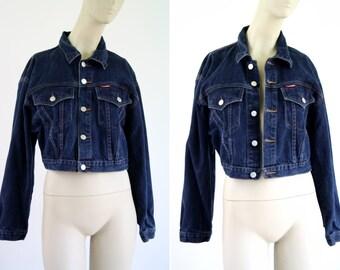Jeanjer 90's Dark Denim Cropped Woman's Vintage Jean Jacket