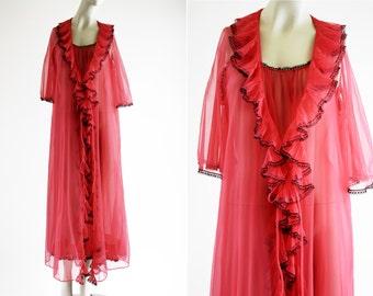 Movie Star Vintage Woman's Red Nylon Sheer 2 Piece Spaghetti Strap Midi Dress and Ruffle Overcoat